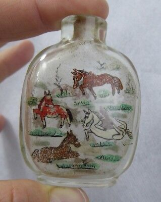 Chinese Antique Snuff bottle Inside Painted Horse Design - Early Example Reverse