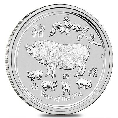 2019 1/2 oz Silver Lunar Year of The Pig BU Australian Perth Mint In Cap