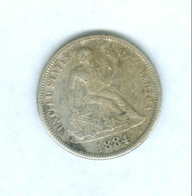 Genuine Scarcer Date 1884-S Silver Seated Liberty Dime.  Very Fine Details