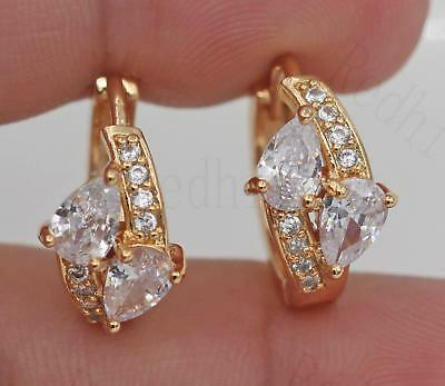 18K Gold Filled - Vintage Waterdrop Clear Topaz Zircon Pageant Women Earrings