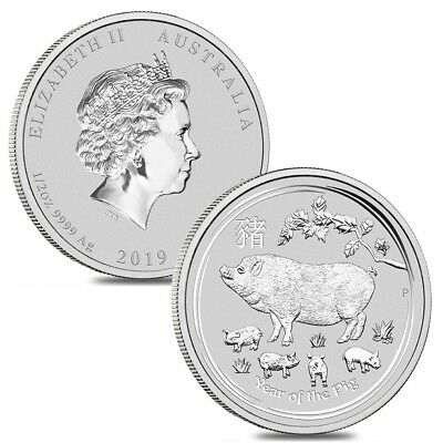 Lot of 2 - 2019 1/2 oz Silver Lunar Year of The Pig BU Australian Perth Mint In