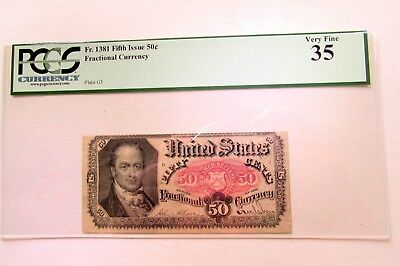 ONE Fr.1381 FIFTH ISSUE 50 CENT FRACTIONAL CURRENCY NOTE IN PCGS VERY FINE 35
