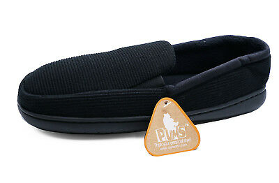 Mens Black Slip-On Indoor Flat Warm Comfy Cool Slippers House Shoes Sizes 7-11