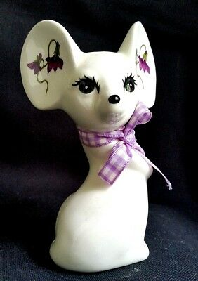 Big Ear Mouse Figurine Porcelain Floral Menagerie Rodent Mice Collectible Art