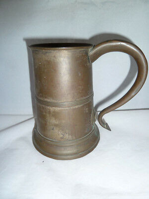 18th Century Copper or Brass Tankard, of Silver Form with Wooden Base