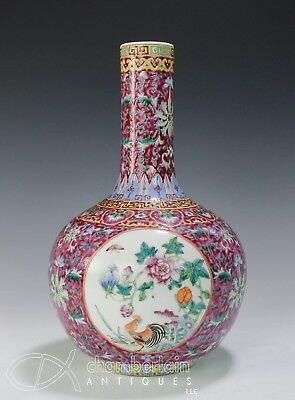 Old Chinese Porcelain Ruby Glazed Bottle Vase With Birds And Flowers