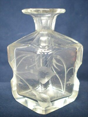 Antique Signed Moser Etched & Cut Clear Glass Perfume Bottle No Stopper