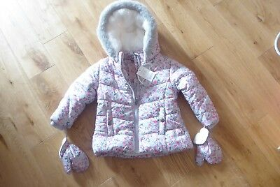 Bnwt Baby Girls Jacket With Mittens Age 12-18 Months - New