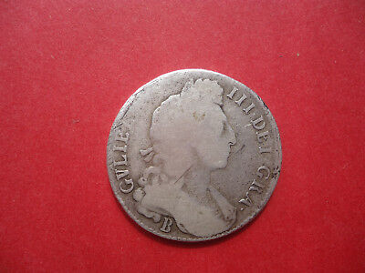 1696 B Great Britain William III  Silver Half 1/2 Crown