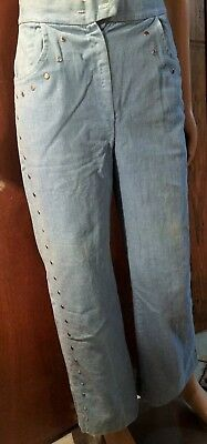 Vintage Pre-Owned Bell Bottom Jeans With Silver Colored Deco Women's Size 14