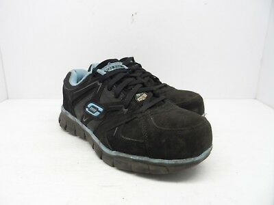 Skechers Women's Synergy Sandlot Alloy Toe Lace-Up Work Shoe Black/Blue 8M
