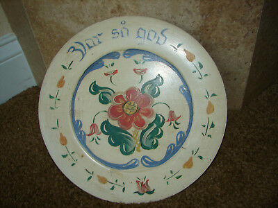 "Norwegian Rosemaling - 10"" Wood Plate Tray - Var Sa God - Berggren Folk Art"