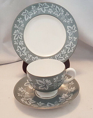 Wedgwood MOSELLE grey tea trio - tea cup, saucer and side plate