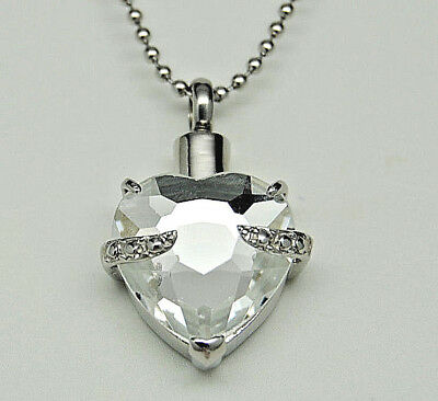 Cremation Jewelry, Heart Urn Necklace with Cubic Zirconia | Memorial Jewelry