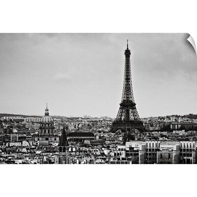 Wall Decal entitled View of city and Eiffel Tower, Paris, France.