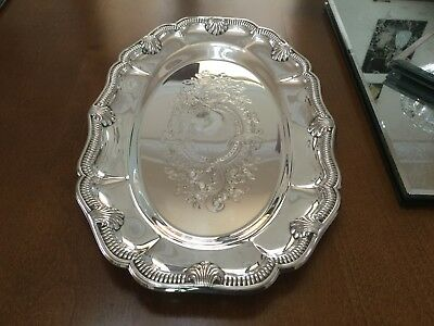 Superb Vintage Viners Silver Plated Chased Oval Drinks Tray