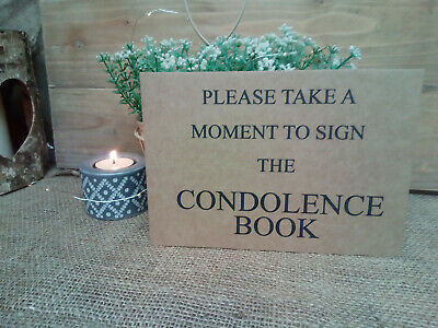 A5 PLEASE SIGN THE CONDOLENCE BOOK Kraft Card Sign - Funeral Memory Memorial ***