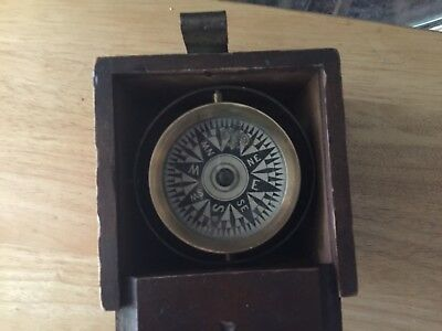 Vintage Maritime Brass Compass In Wooden Box