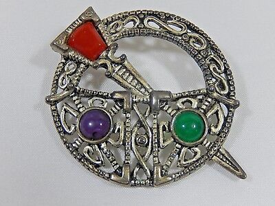 Vtg Celtic Irish Sol D'or Miracle Celtic Penannular Agate Glass Kilt Pin Brooch