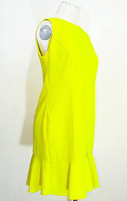 Ladies Red Herring deep yellow pencil dress size 10 ruffle hem wedding races