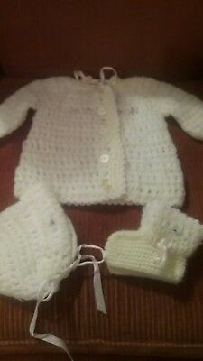 Vintage Crochet Baby Sweater Set-Yellow-Excellent Condition