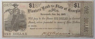 1863 Planters Bank of the State of Georgia $1 Note Savannah Ga