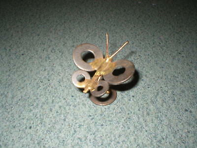 """Vintage Handmade 1 3/4"""" Tall Metal Butterfly Washers & Welded Copper Wire"""