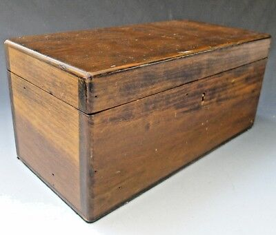 Antique vintage oak wooden tea caddy box with lock or jewellery stationery box