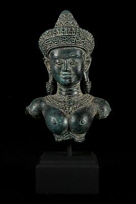 Antique Khmer Style Bronze Mounted Apsara Torso or Angel Statue - 30cm/12""