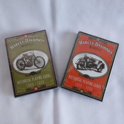 Vintage 1997 Harley-Davidson Historical Playing Cards 1903-1929 & 1930-1950 (2)
