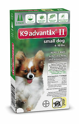 K9 Advantix II Small Dogs up to 10lbs Flea and Tick Spot On Green 2 Month