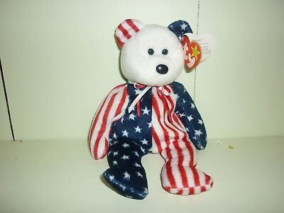Ty Beanie Baby Spangle the White Face Bear MWMT Flat Tush Tag 1999 Retired
