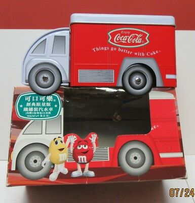 Chinese 2002 M&m's/coca-Cola Delivery Truck Shaped Tin With Box-Fishtail Logo