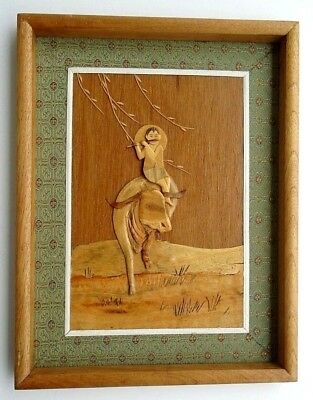 Vintage Framed Layered WOOD CARVED ART Asian Boy Playing His Flute on His Ox