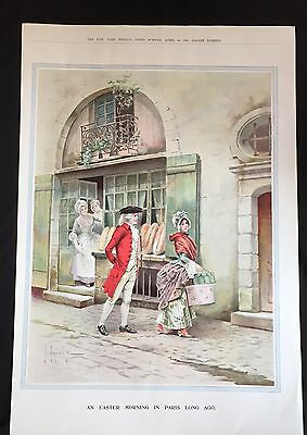 1905 newspaper VICTORIAN COLOR POSTER Easter n Paris France 18th Century FASHION