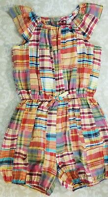 KELLY'S KID'S Girls Nettie Red Blue Madras Plaid Romper Size 10-12
