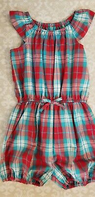 Kelly's Kids Girls Nettie Red Blue Plaid Romper Size 14-16
