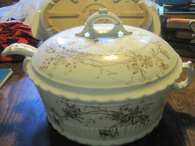 BROWN and White FLORAL W/GOLD Antique Soup Tureen Handpainted W/LADLE
