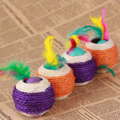 Product Feather Teaser Play Scratch Toy Lovely Sisal Ball Cat Toy Rope