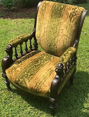 19Th C Antique Horner Victorian Mahogany Carved Arm Chair W/ Figural Griffins