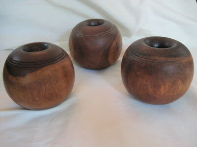 Set of 3 Heavy Primitve Matching Wood Balls Ringed Burl Wood Home Country Decor