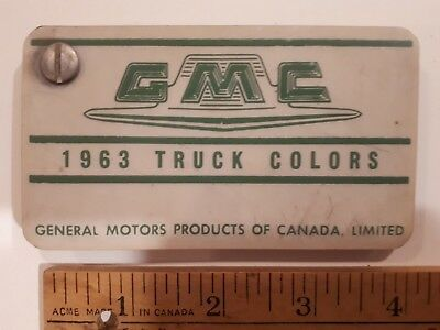 1963 GMC Truck  - Original Color Chip Deck - Exterior Paint Samples (CDN)