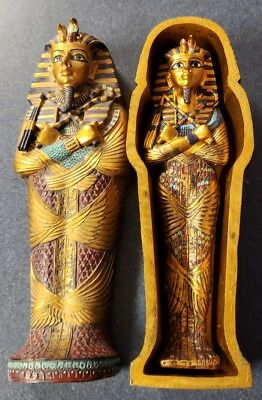 KING TUT Veronese 1999 Egyptian Sarcophagus With Mummy Coffin Figurine 8""
