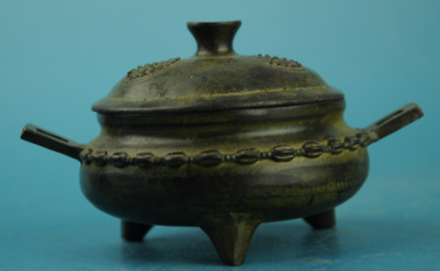 Chinese old pure fengshui copper Hand carving three foot censer /xuande mark d01