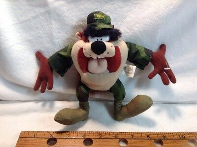 "LOONEY TUNES Tasmanian Devil TAZ 7"" Plush Camo Camouflage MARINE Great Condition"