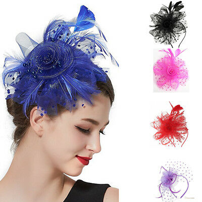 DRESHOW Feather Mesh Fascinators Hat Flower Ribbons With Headband Forked Clip...