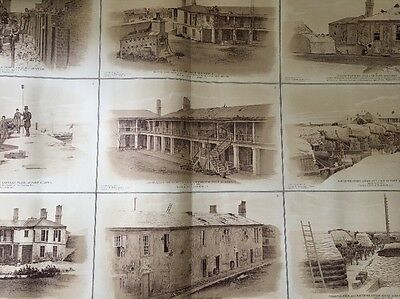 1894 Large Civil War Print Charleston Harbor Fort Barracks from Official Records