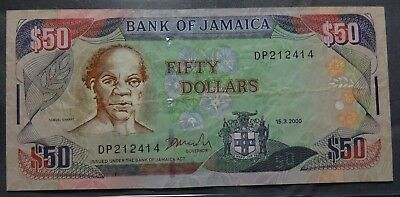 Jamaica $50 Dollars Bank Of Jamaica In Uncirculated Condition Rare.........