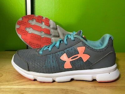 Girls UNDER ARMOUR Shoes Size 2Y Gray Green And Orange