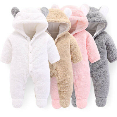 Newborn Baby Clothes Girl&Boy Hooded Winter Warm Jumpsuit Thick Flannel Overalls